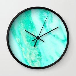 Shimmery Sea Green Turquoise Marble Metallic Wall Clock