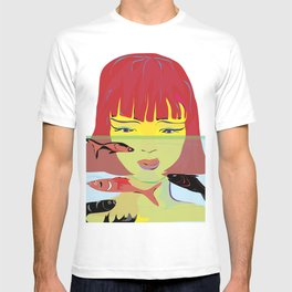 """Redhead Worry"" Paulette Lust's Original, Contemporary, Whimsical, Colorful Art T-shirt"