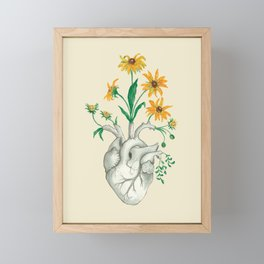 Floral Heart: Sunflower Human Anatomy Framed Mini Art Print