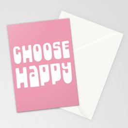 Choose Happy - Inspirational Motivational Optimistic Typography in White and Pink Stationery Cards