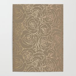 Custom Gold Floral Pattern Poster