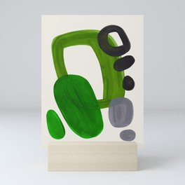 Minimalist Modern Mid Century Colorful Abstract Shapes Olive Green Retro Funky Shapes 60's Vintage Mini Art Print