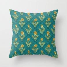 Damask Rose Throw Pillow