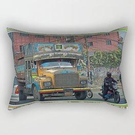 STREET SCENE IN KATHMANDU TRUCK AND MOTOR BIKE Rectangular Pillow