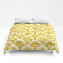 Fan Pattern Mustard Yellow 201 Comforters