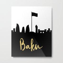 BAKU AZERBAIJAN DESIGNER SILHOUETTE SKYLINE ART Metal Print