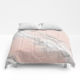Rose Gold Pink Glitter and Marble Comforters