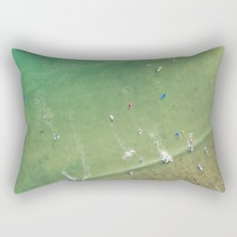 Drone Shot of Surfers from above Rectangular Pillow