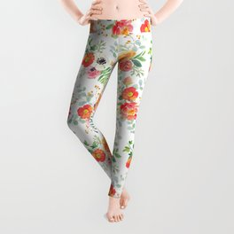 Watercolor bouquets with pink flowers Leggings