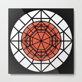 Moon Mystery Geometric Abstraction Terracotta Black White Metal Print