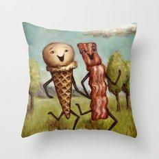 Bacon Loves Ice Cream Throw Pillow