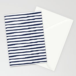 Navy Blue Stripes on White Stationery Cards