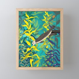 Sea Otter Swimming Through A Kelp Forest Framed Mini Art Print