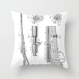 Bolt Action Rifle Patent - Browning Rifle Art - Black And White Throw Pillow