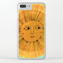 Sun Drawing - Gold and Blue Clear iPhone Case