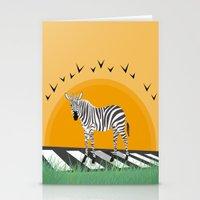 zebra Stationery Cards featuring Zebra by Nir P