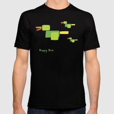 Happy Bird-Green Mens Fitted Tee MEDIUM Black