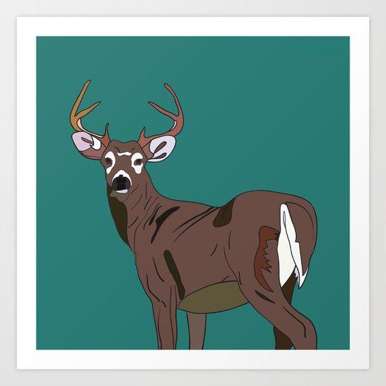 Deer In The Green Art Print