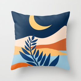 Moon + Night Bloomer / Mountain Landscape Throw Pillow