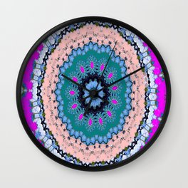 Lovely Healing Mandala  in Brilliant Colors: Black, Teal, Blue, Pink and Fuschia Wall Clock