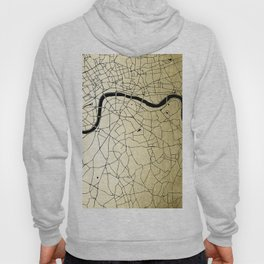 London Gold on Black Street Map Hoody
