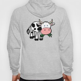 Black and White Steer Munching Grass Hoody