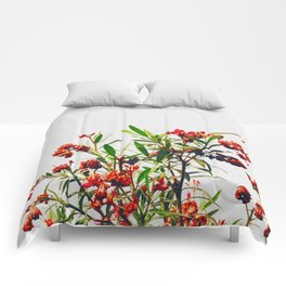Minimal Red & Green Floral (Color) Comforters