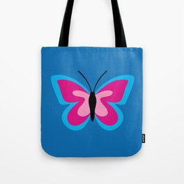 Blue Pink Butterfly - Blue Background Tote Bag