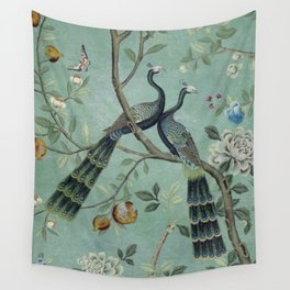A Teal of Two Birds Chinoiserie Wall Tapestry