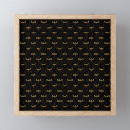 Golden Dragonfly Repeat Gold Metallic Foil on Black Framed Mini Art Print