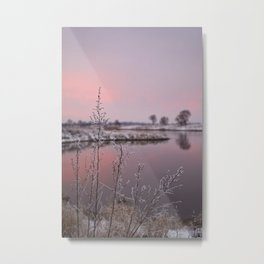 Winter Sunset At River Bank Metal Print