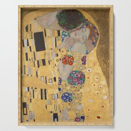 Gustav Klimt, The Kiss (Lovers), Detail Embrace, 1908 - Reproduction under Belvedere, Vienna, Creative Commons License CC BY-SA 4.0 Serving Tray