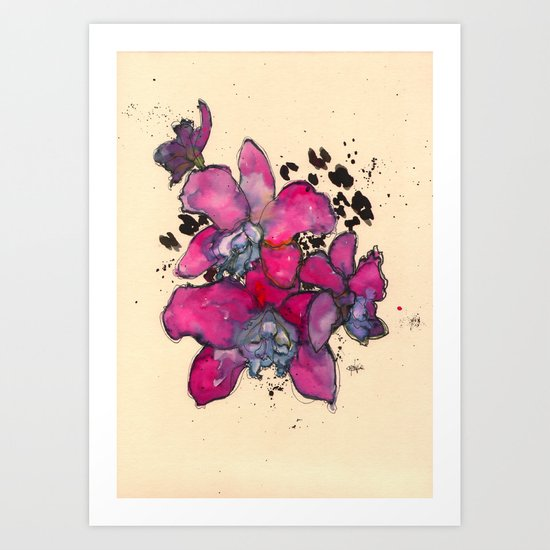 Fuchsia Orchids Art Print