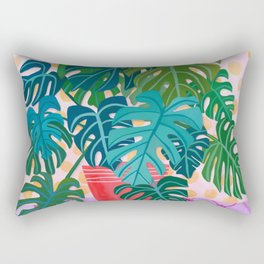 Split Leaf Philodendron Houseplant Painting Rectangular Pillow