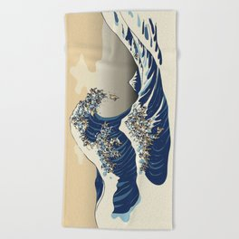 The Great Wave of Pugs Vanilla Sky Beach Towel