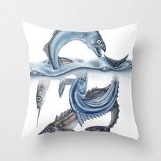 INKYFISH - Fish scraps Throw Pillow