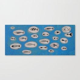 Sea of bubbles with fish / Mar de bombolles amb peixos Canvas Print