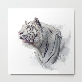 White tiger watercolor illustration on white background Metal Print