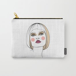 Blonde woman with makeup. Abstract face. Fashion illustration Carry-All Pouch