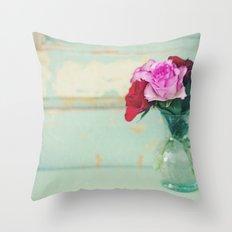 Retro Roses Throw Pillow