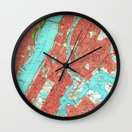 Vintage Map of Uptown Manhattan & The Bronx (1956) Wall Clock