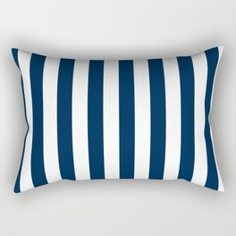 Narrow Vertical Stripes - White and Oxford Blue Rectangular Pillow