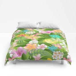 Tropical Floral Plumeria Paradise Comforters