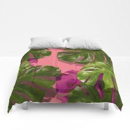 """Tropical monstera polka dots pastel pink"" Comforters"