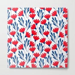 Red&blue floral pattern  Metal Print
