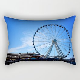 The Great Wheel in Seattle on a Blue Sky Day Rectangular Pillow