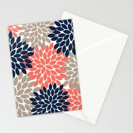 Navy Coral Beige Flower Burst Petals Floral Pattern Stationery Cards