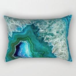 Aqua turquoise agate mineral gem stone - Beautiful Backdrop Rectangular Pillow