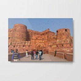 Agra Fort entrance with visitors and pigeons, India Metal Print