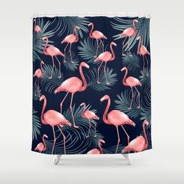 Summer Flamingo Palm Night Vibes #1 #tropical #decor #art #society6 Shower Curtain